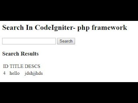 Search In CodeIgniter- php framework