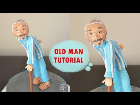 HOW TO MAKE OLD MAN CAKE TOPPER FONDANT - TUTORIAL UOMO ANZIANO TORTA PASTA DI ZUCCHERO