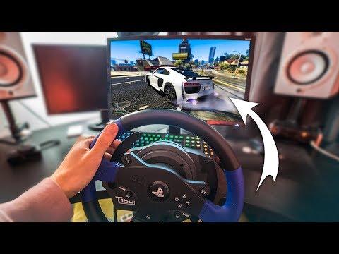 GTA 5 WITH A STEERING WHEEL! - (GTA 5 Drifting & Stunts)