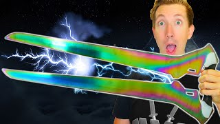VIDEO GAME SWORDS in REAL LIFE 🔪 5 Weapons vs Fruit Ninja (Halo, Metal Gear, Devil May Cry)