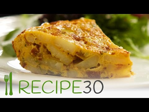 SPANISH OMELETTE recipe, with pops of fried chorizo sausage - By www.recipe30.com