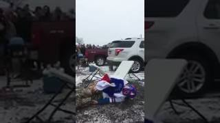 Bills Fan Gruesomely Snaps His Leg In Half After Jumping Off Car Roof Onto Table