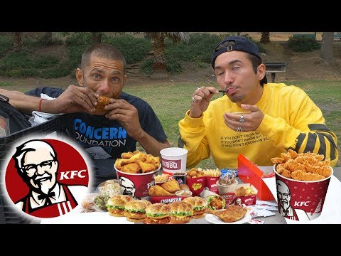 KFC MUKBANG with a HOMELESS MAN (multiple personality disorder)