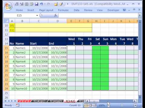 Excel MT142 p1: Custom Number Format & Conditional Formatting for Dates & Weekends