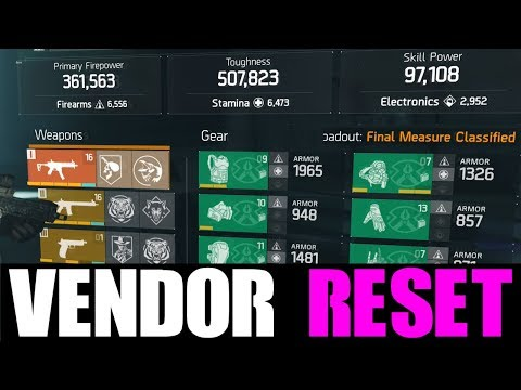 THE DIVISION - GREAT VENDOR RESET | GOD ROLL WEAPONS, GEAR & GEAR MODS! (YOU NEED TO BUY)