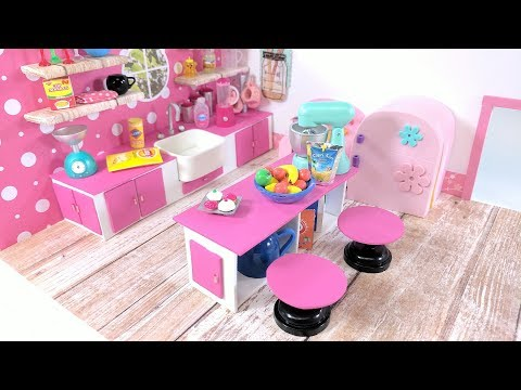 DIY Miniature Kitchen Living Room Combo - The Kitchen - for LPS, LOL, & Small Dolls