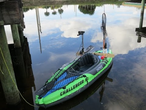 $2 motor mount $60 inflatable Intex kayak  $25 trolling motor