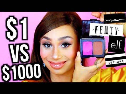 10 Dollar Makeup vs. 1000 Dollar Makeup: THE SAME LOOK