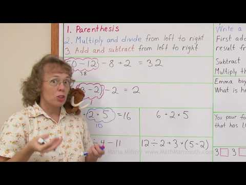 The order of operations for 4th grade math