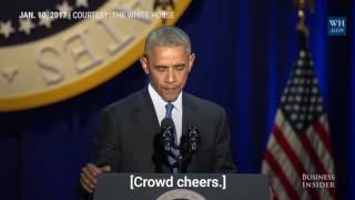Watch President Obama tear up while addressing Michelle in his farewell speech