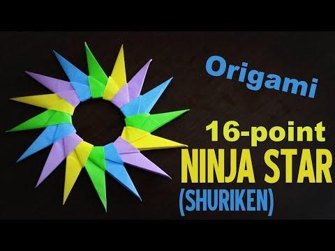 Origami - How to make a 16-point SHURIKEN (Ninja Star)