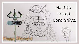 How to draw LORD SHIVA step by step for kids | mahadev drawing | bholenath drawing | Maha Shivratri