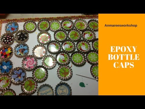 Making Bottle Cap Magnets with Epoxy