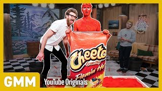Human Flaming Hot Cheeto Challenge