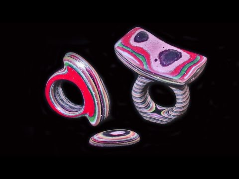 Faux Fordite  Rings Carved From Paper And Epoxy