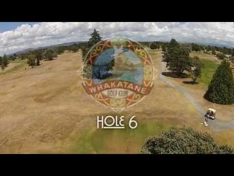 WHAKATANE GOLF CLUB - Hole 6 - Flyover & PRO TIP