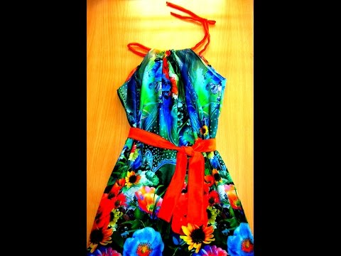 HOW TO CUT & STITCH Floral Halter BABY dress with no pattern sewing.........BABY .FROCK # 8