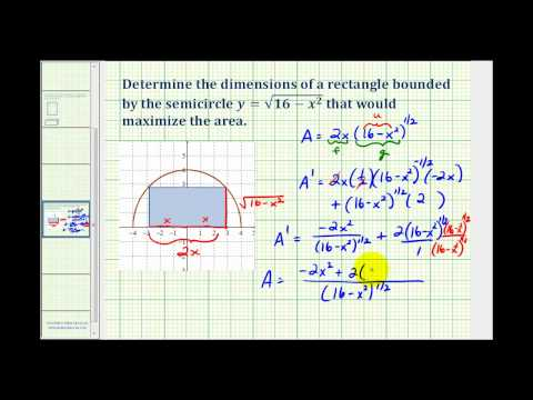 Ex 3:  Max / Min Application Problem - Rectangle in a Semicircle