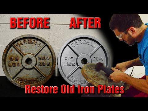 Restoring Old Used Olympic Iron Weightlifting Plates Back to New