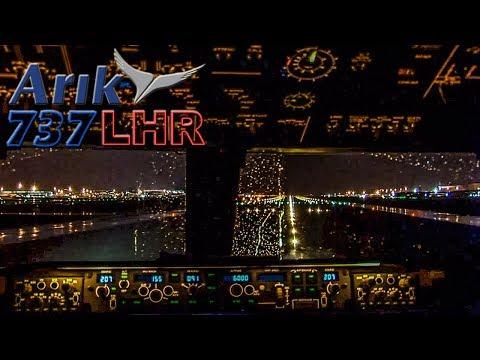 737 FLIGHTDECK Night Takeoff from HEATHROW