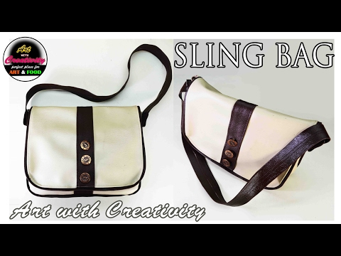 DIY   How to : make Sling bag   unisex   Sewing machine   Art with Creativity 155