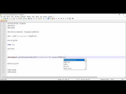 JavaScript  -  Increment of Variable Example