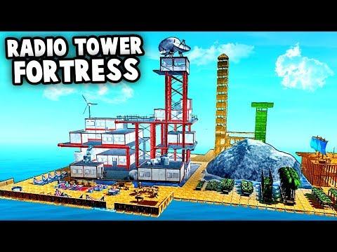 Building the EPIC Radio Tower Island FORT (Raft Gameplay)