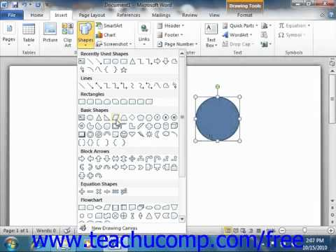 Word 2010 Tutorial Inserting Shapes Microsoft Training Lesson 13.1
