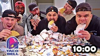 100 TACOS IN 10 MIN CHALLENGE!! (EXTREME TACO BELL CHALLENGE)