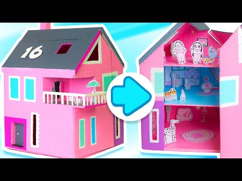 How to Make a Dollhouse that Opens & Closes | DIY Cardboard Houses on Box Yourself
