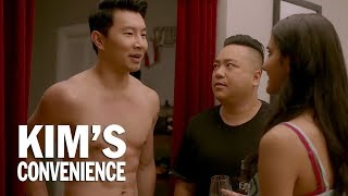 A box of wine and a six-pack | Kim's Convenience