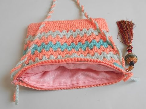 (crochet-crosia) How to sew a lining and zipper for a crocheted bag