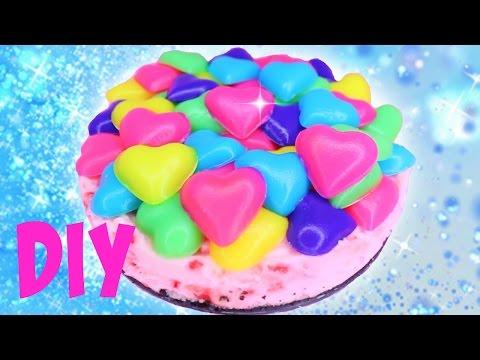 Valentine's Day NO BAKE Rainbow Heart Melts Filled Pie ジュエルレアチーズケーキ