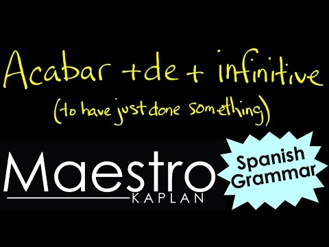 Acabar de infinitive  TO HAVE JUST DONE SOMETHING