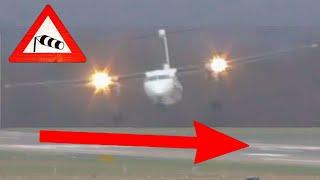Sturm Friederike - Grandiose Pilotenleistung am Airport Düsseldorf bei bis zu 110 km/h Seitenwind
