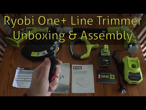 Unboxing and Assembly of the Ryobi One+ 18v Line Trimmer and Edger Whipper Snipper 5.0ah Battery Kit