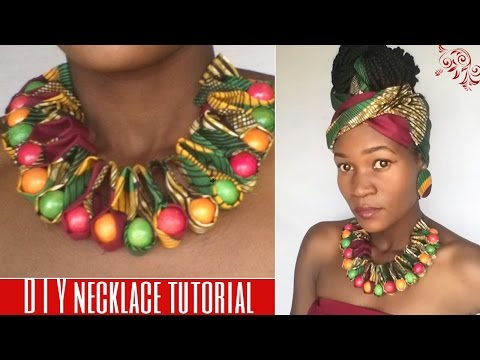 DIY ankara/african print ruffle beaded necklace