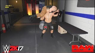 The brawl between Braun Strowman & Universal Champion Brock Lesnar at backstage-WWE-2K17