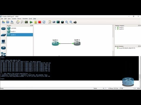Correr /Run Juniper (JUNOS) GNS3 test basic ping - Solutions
