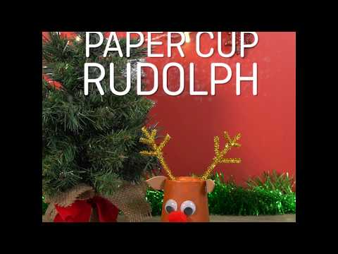 Make a paper cup Rudolph Christmas craft