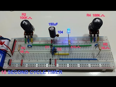 10 second cycle variable timer using 555 timer in Tamil & English, 10 sec astable multivibrator