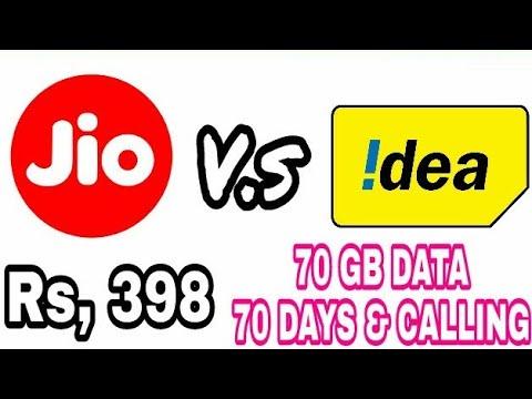 JIO VS IDEA | IDEA दे रहा है 398 रुपये मैं 70GB 4जी डाटा और कॉलिंग 70 दिन तक