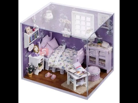 Unboxing kits diy wood dollhouse miniature with furniture dolls house gift honey dream