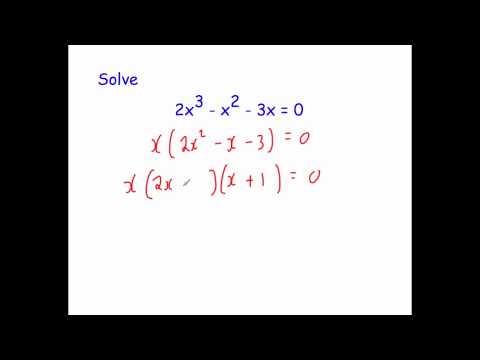 Solving Equations by Factorising - Further Examples 1