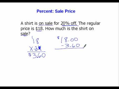 Percent: Sale Price Involving Percents