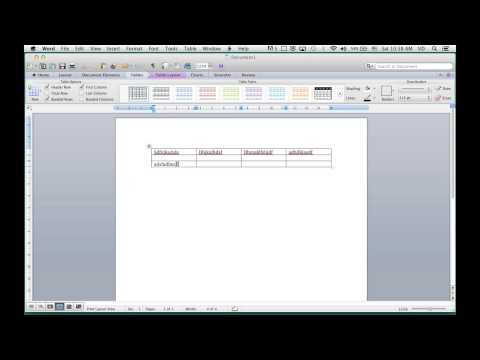 Creating and Editing a Table in MS Word 2011 Mac