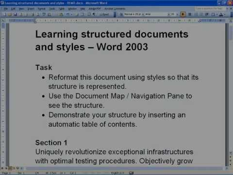 Creating structured documents in word 2003