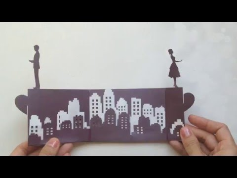 Long Distance Love Story Pop Up Card Tutorial, Valentine's Day Kirigami   Free Pattern