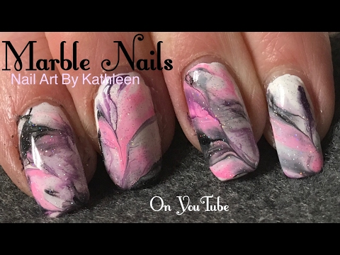 Marble Nails Using Acrylic Paint