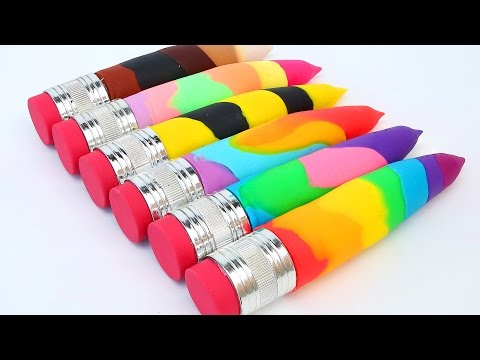 DIY Super Colors Play Doh Pencils Modellling Clay Play Doh Ice Cream Popsicles Umbrella Learn Color